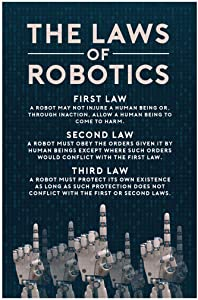 Poster Foundry The Three Laws of Robotics Rules Science Fiction SciFi Geeky Inventor Handbook of Robotics Reference Chart Sign Stretched Canvas Art Wall Decor 16x24