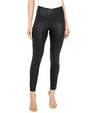 HUE Lacy Leatherette High-Rise Leggings (Black) Women