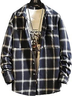 Pinkpum シャツ メンズ 秋服 カジュアル チェックシャツ 長袖 シャツ ギンガムチェック shirt ネルシャツ