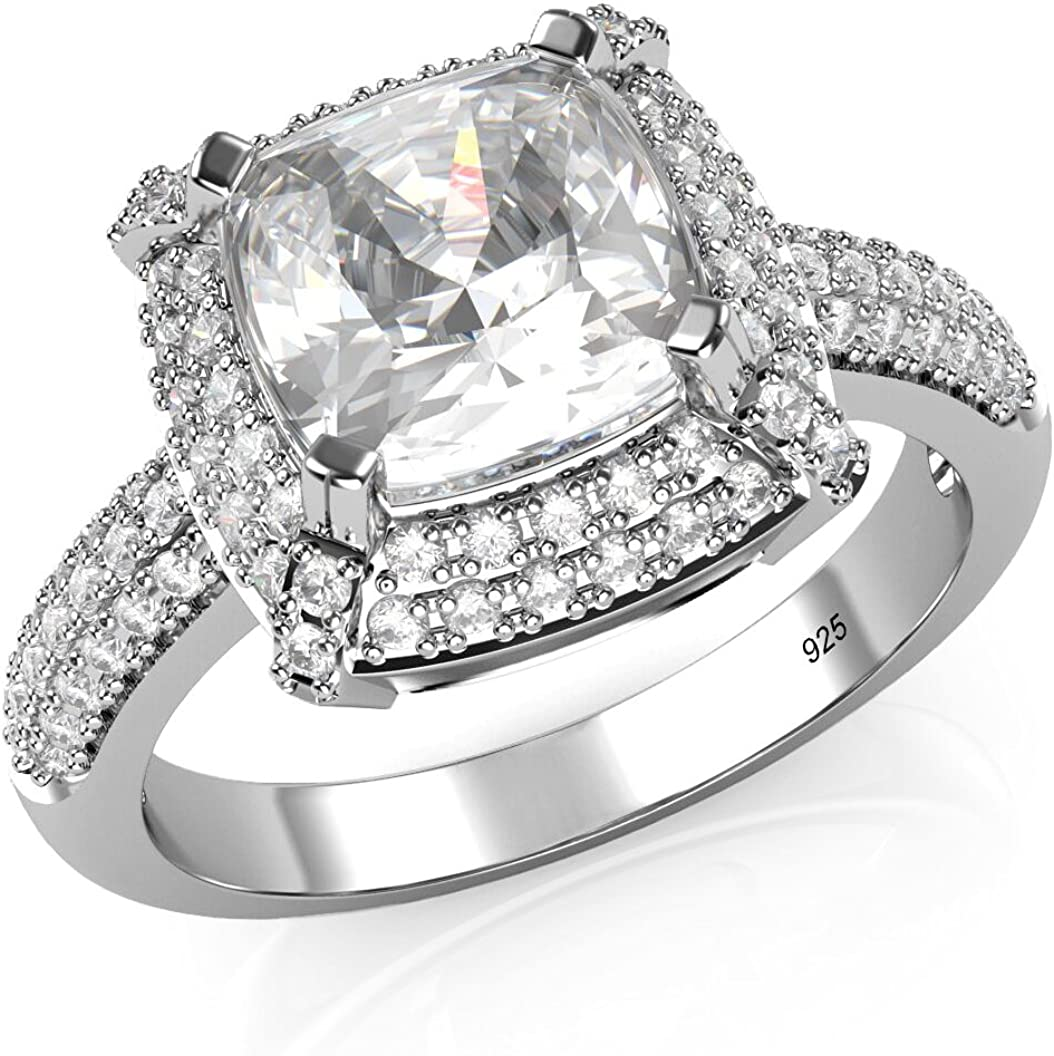 Metal Factory Sterling Silver free 925 Cubic Ct. sold out Cushio Zirconia 3 CZ