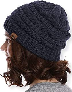 Womens Cable Knit Beanie - Warm & Soft Stretch Winter Hats - Thick, Chunky & Soft Stretch Knitted Caps for Cold Weather - Stylish & Trendy Snow Beanies for Ladies