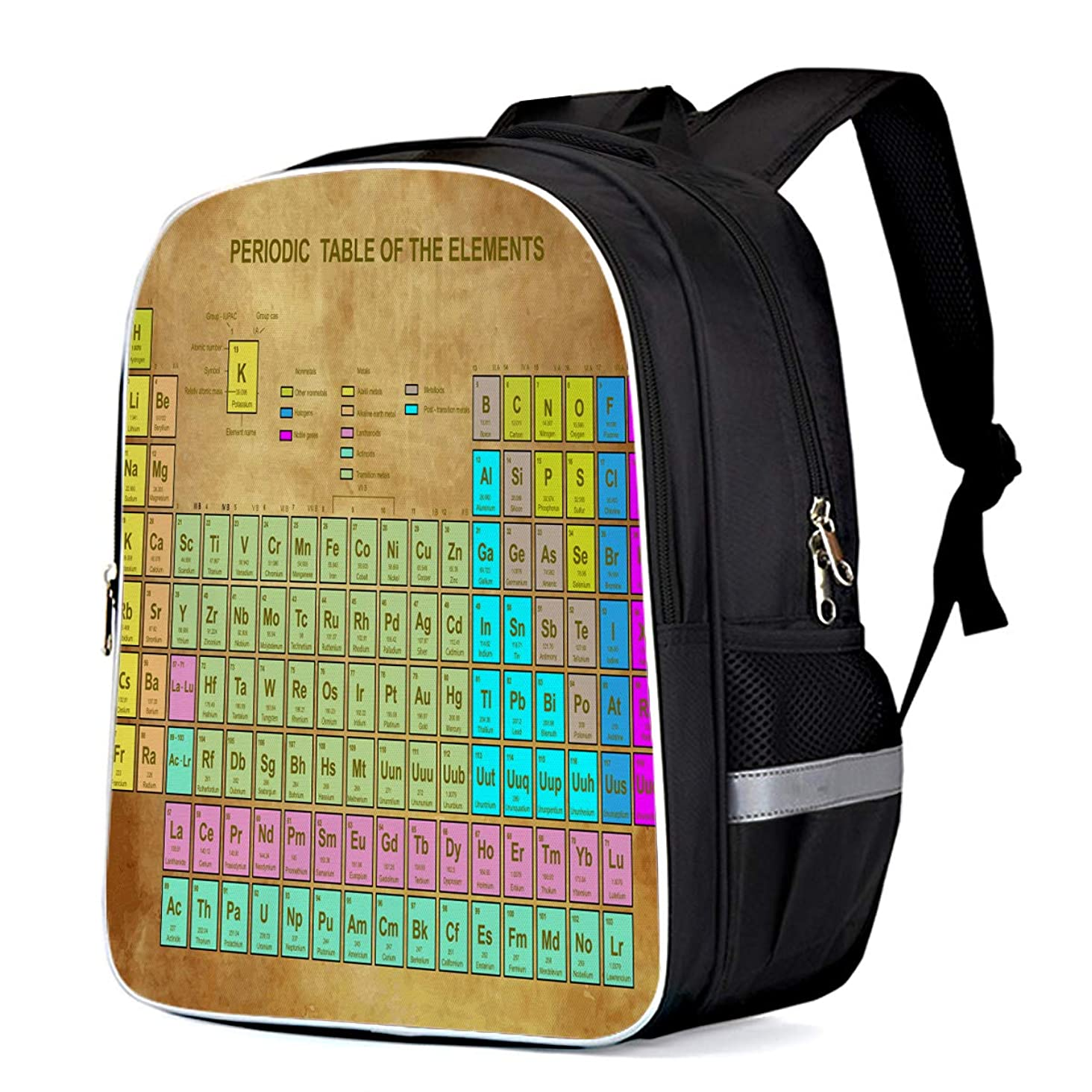 Fashion Elementary Student School Bags- Vintage Brown Paper Periodic Table of the Elements, Durable School Backpacks Outdoor Daypack Travel Packback for Kids Boys Girls