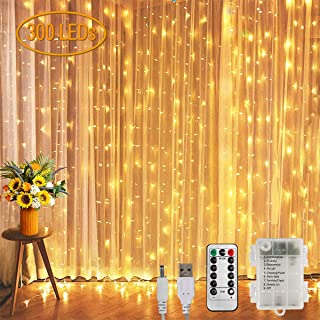 Koopower 9.8x9.8ft Curtain Lights 300 LED String Lights Battery or USB Plug in Indoor Outdoor Christmas Twinkle Lights for...