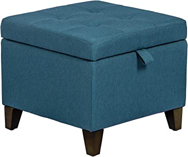 Homebeez Storage Ottoman Cube Foot Rest Stool with Hinged Lid/ Wood Legs (Dark Blue)