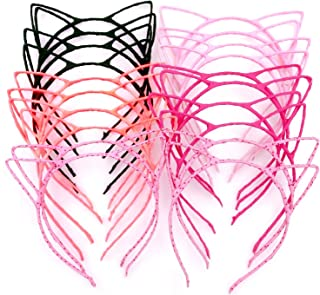 JZK 20 x Diademas de orejas de gato banda de pelo banda para niñas y mujeres fiesta y decoración diaria regalo de cumpleaños de navidad