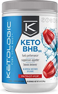 KetoLogic BHB Exogenous Ketones Powder Supplement: Patriot Pop (30 Servings) - Boosts Ketosis, Increases Energy & Focus - ...