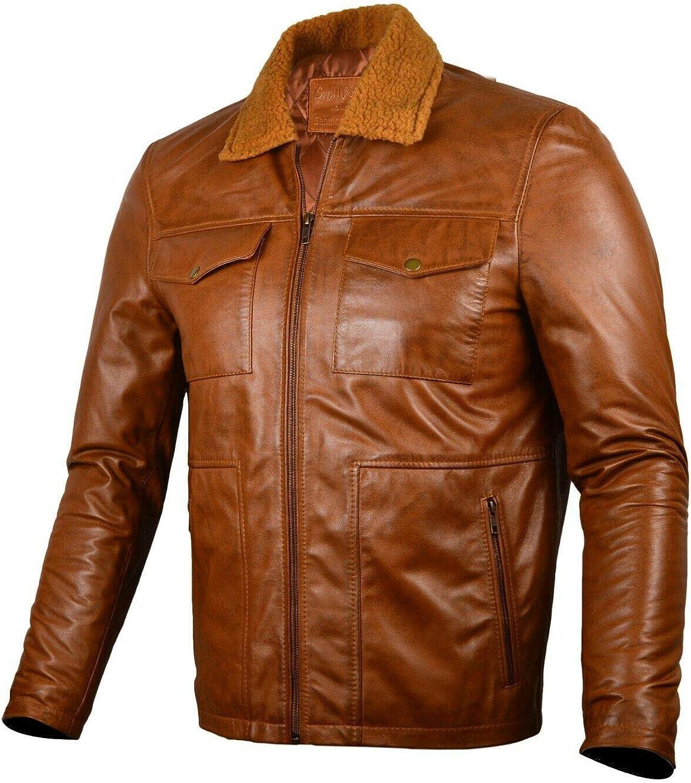 Mens Genuine Leather Jacket Faux Fur Collar Distressed Brown Biker Cafe Racer Vintage | Leather Jacket Men