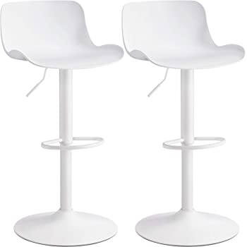 Amazon Com Yaheetech Bar Stools Height Adjustable Swivel Bar Chair Kitchen Counter Bar Height Stools With Shell Back For Kitchen Living Room Set Of 2 White Furniture Decor