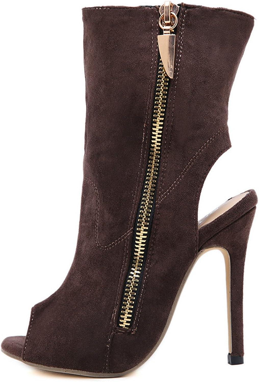 Quality.A Side Zipper Stiletto Summer Boots Fashion Open Toe high Heels Retro Sandals