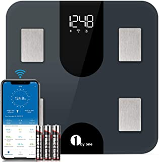 1byone Weight Scale Body Fat Bluetooth and WiFi with Auto Data Recognition, Bathroom Digital Scale Smart BMI, Accurate 13 Body Composition Analyzer,400 lbs, Batteries Included