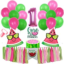 Inno-Huntz Watermelon Party Supplies 1st Birthday Kit with Balloons 22 Pcs Party In A Melon Party Decorations Baby Boy Girl Birthday Highchair Banner For Fruit Theme