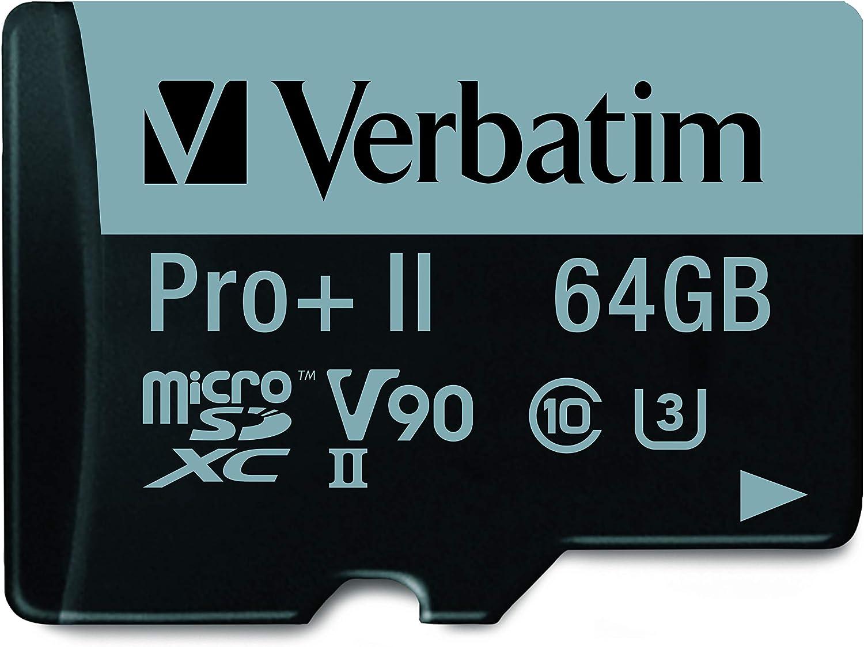 Verbatim 64GB Pro II Plus 1900X SDXC UHS-II V90 U3 Class 10 Memory Card w/Adapter