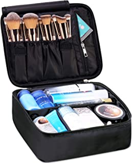 Travel Makeup Bag Large Cosmetic Bag Make up Case Organizer for Women and Girls (A-Black)