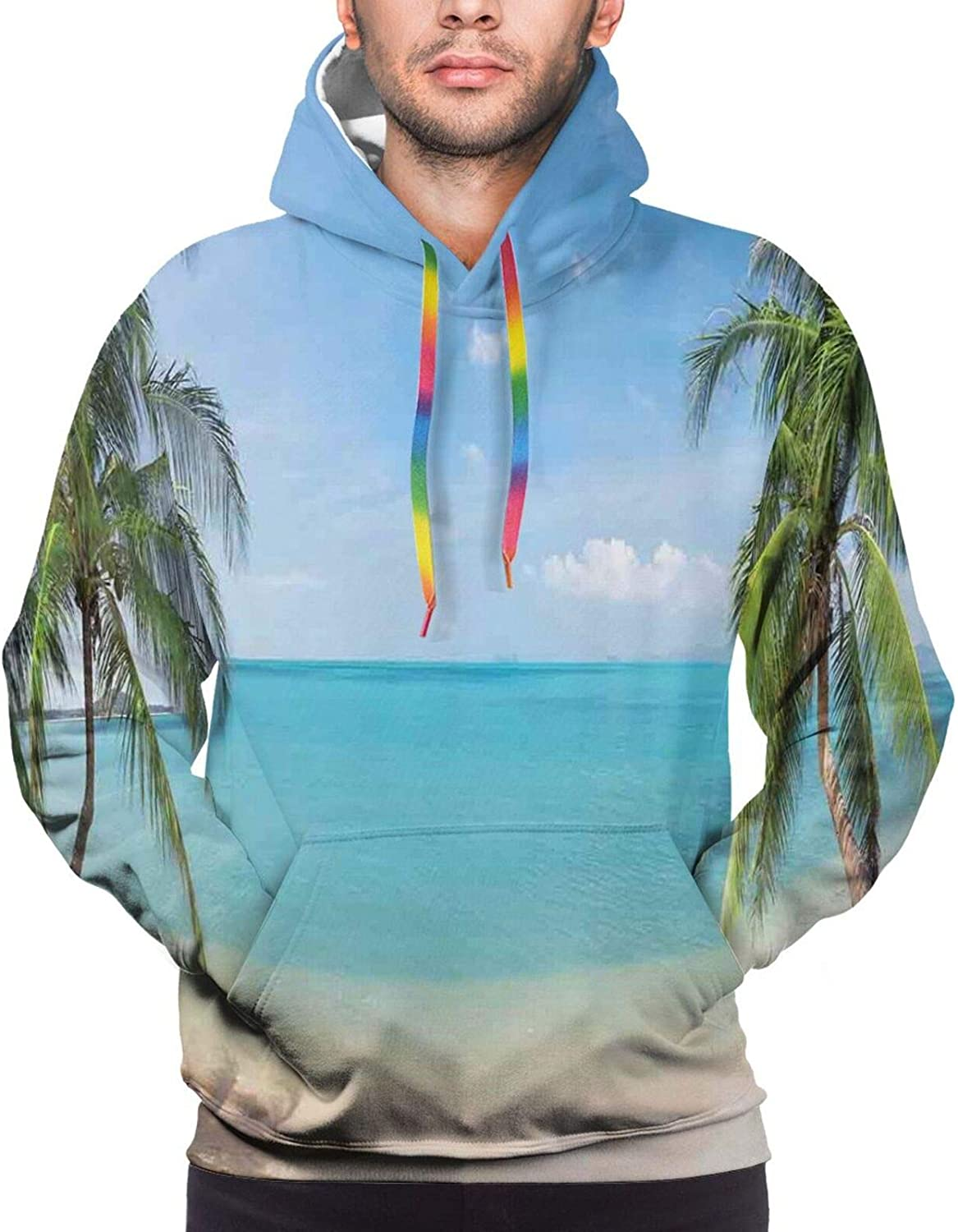 Men's Hoodies Sweatshirts,Panoramic Landscape with Lonely Bison and Snowy Mountains at Grand Loop Yellowstone