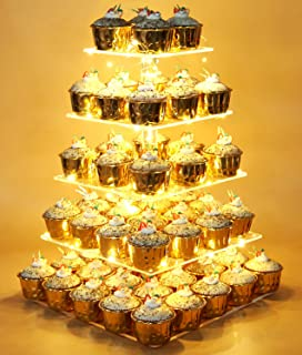 Vdomus Pastry Stand 5 Tier Acrylic Cupcake Display Stand with LED String Lights Dessert Tree Tower for Birthday/Wedding Party