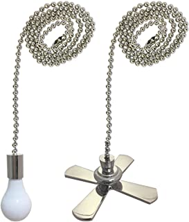 Royal Designs Fan and Light Bulb Shaped Pull Chain Set – Nickel Plated, One Pair