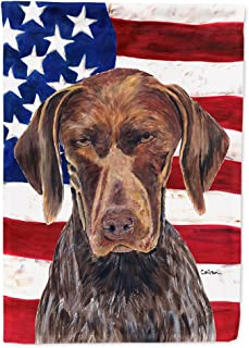 Caroline's Treasures SC9034GF USA American Flag with German Shorthaired Pointer Flag, Small, Multicolor