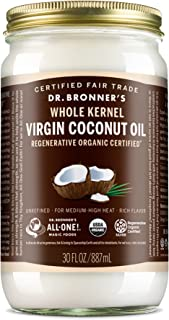 Dr. Bronner's - Organic Virgin Coconut Oil (Whole Kernel, 30 Ounce) - Coconut Oil for Cooking, Baking, Hair and Body, Unre...