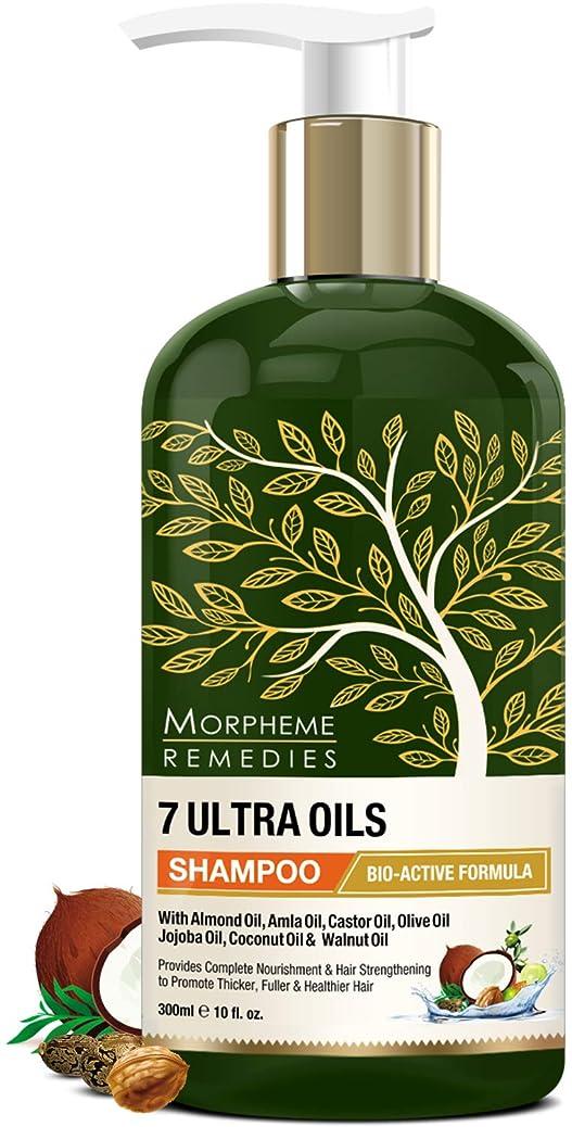 乱暴な父方のライナーMorpheme Remedies 7 Ultra Oils Shampoo, 300ml - Provides Complete Nourishment & Hair Strengthening to Promote Thicker, Healthier Hair