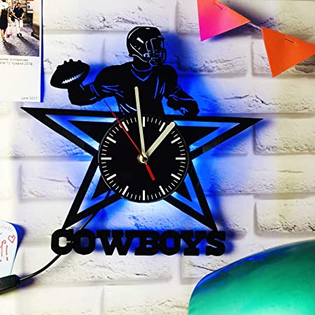 Artwork gift idea for birthday girlfriend boyfriend and teens Football Team men christmas Handmade Vinyl Record Wall Clock living kids room Dallas Cowboys women friends