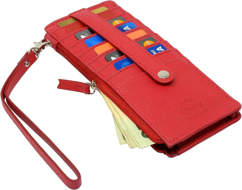Alpine Swiss Women's Leather Wristlet Wallet Card Case Organizer Zipper Clutch