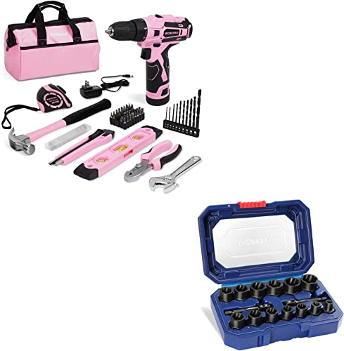 """2021 WORKPRO 12V Pink Cordless Drill and lowest Home Tool Kit+WORKPRO 15 Pieces Impact Bolt & Nut Remover Set, 3/8"""" wholesale Drive Bolt Extractor sale"""