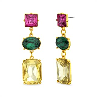 Steve Madden Yellow Gold Plated Red Green Yellow Rhinestone Drop Dangle Earrings for Women