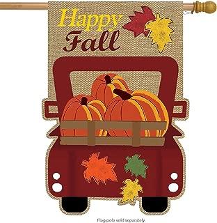 Briarwood Lane Happy Fall Pickup Burlap House Flag Autumn Give Thanks 28