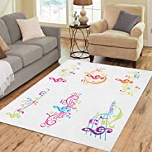 Semtomn Area Rug 3' X 5' Music of Colorful Musical Notes in Color Song Rainbow Home Decor Collection Floor Rugs Carpet for Living Room Bedroom Dining Room