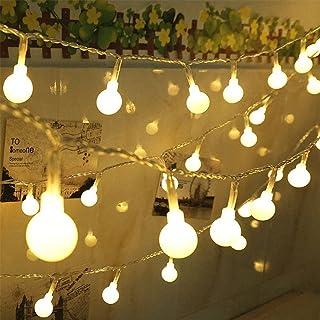 Zehui - Cadena de luces LED con forma de bola con caja de luz blanca para decoración de jardín, hogar, fiesta, bar, 5 Meters 50 Lights Ball Lights String