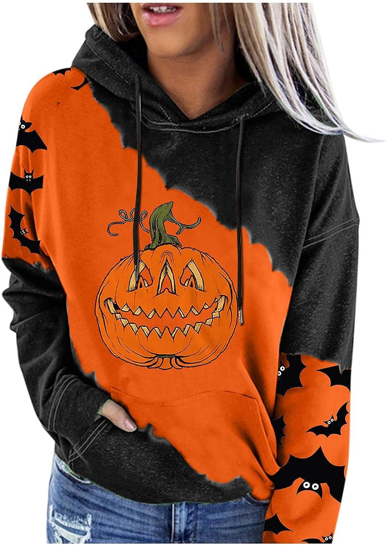 Halloween Hoodies for Women,Women Halloween Sweatshirts Hoodies Teen Girls Pumpkin Bat Graphic Lightweight Pullover
