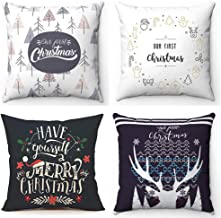 With a bud Christmas Throw Pillow Covers 18x18 Set of 4, Decorative Farmhouse Outdoor Merry Christmas Xmas Cushion Pillow Shams Cover Cases Slipcovers for Couch Sofa (18X18)
