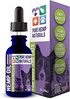 Pure Hemp Naturals Hemp Oil for Dogs and Cats - Stress and Seperation Anxiety Relief - Supports Hip and Joint Health - Vet...