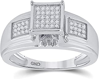 FB Jewels 925 Sterling Silver Womens Round Diamond Square Ring 1/6 Cttw Size 7 (Primary Stone: SI3 clarity; G-H color)