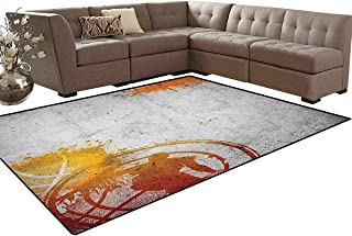 Basketball,Rug,Basketball Streetball and Paint Stains Image on Concrete Wall Rustic Print,Perfect for Any Room Floor Carpet,Charcoal Orange Size:5'x6'