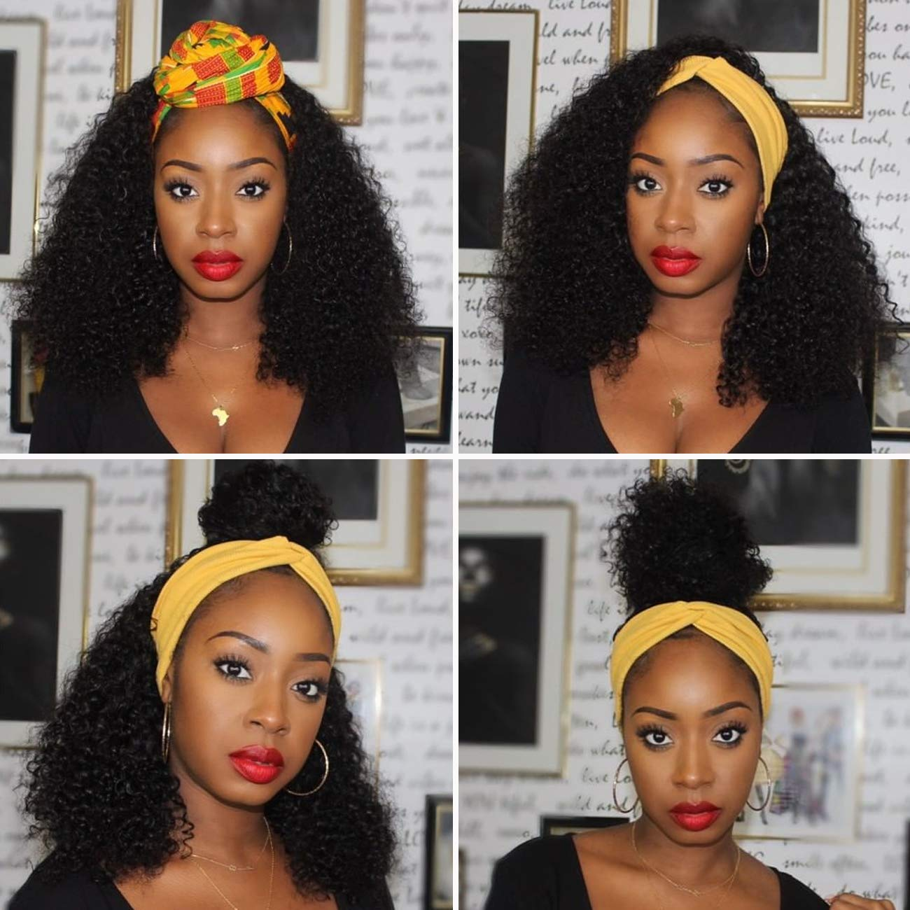 BINF Hair Kinky Surprise price Curly Wave Headband Lace Wig Fro New mail order None Human