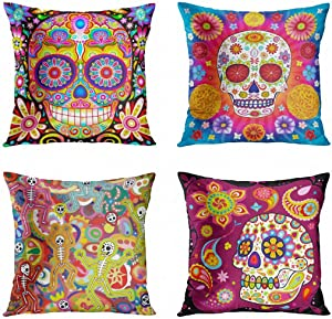 ArtSocket Set of 4 Halloween Pillow Covers Colorful Sugar Skull Gothic Spooky Decorative Pillow Cases Halloween Home Decor Square 18x18 Inches Pillowcases