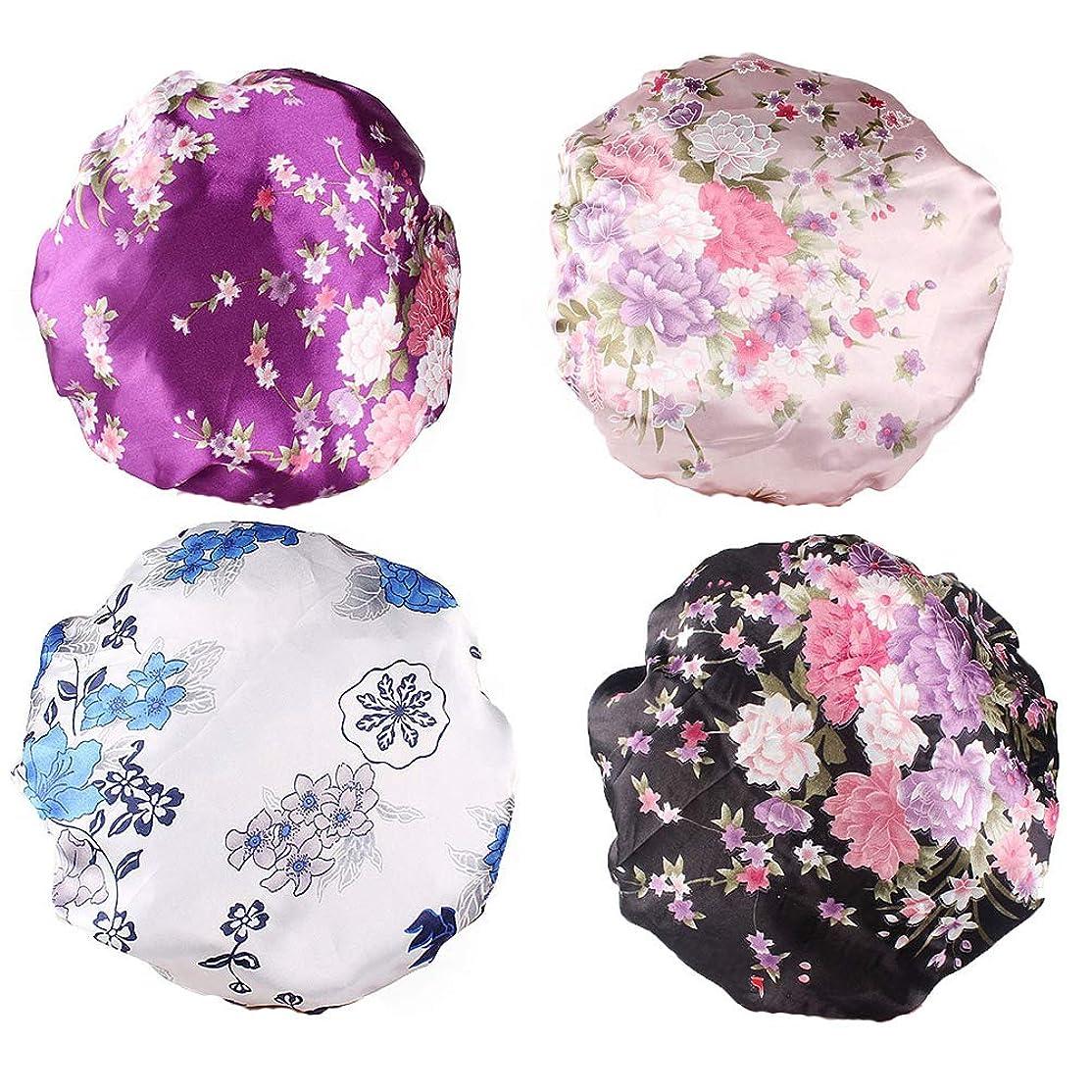 自宅でハロウィンベギンBeaupretty 4本の女性の絹のようなサテンの睡眠の帽子プレミアムゴムバンド付きサテンの睡眠の帽子女性の女の子のためのナイトキャップサロンボンネット抜け毛の帽子(紫色+黒+白+ピンク)