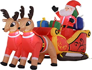 HOMCOM 7' L Christmas Holiday Yard Inflatable Outdoor, Light Up LED Airblown Decoration, Santa on Sleigh with Reindeer