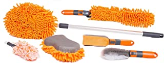 BIRDROCK HOME 6 PCS Car Wash and Cleaning Kit - Microfiber Cleaner – Auto Care - Exterior and Interior Cleaning – Tire Wheel Brush - Sponge - Duster - Extendable Cleaning Tool - Detailing Set