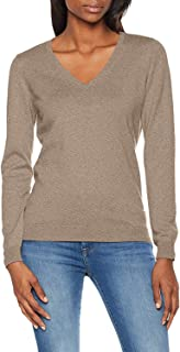 SUNJIN ARCO Women's Cotton V Neck Long Sleeve Sweaters Knit Light Weight Pullover