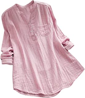 Women Blouses Stand Collar Long Sleeve Casual Loose Tunic Tops Shirt Blouse Clothing Ladies Camisas Mujer Verano (Color : ...