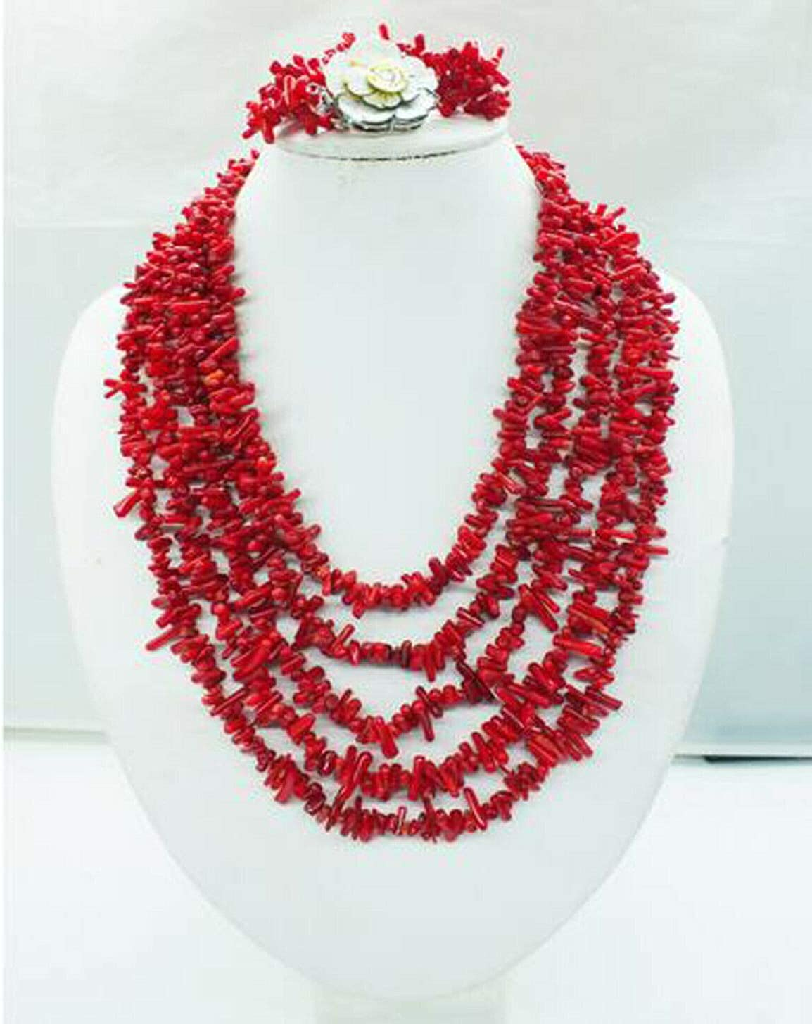 Necklaces Quality inspection Pendants 5 Rows Handmade Amazing Challenge the lowest price of Japan ☆ Branch Real Cora Red