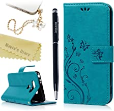 LG G5 Case (LG H868), Mavis's Diary Embossed Wallet Fashion Butterfly Floral PU Leather Protective Flip Folio & Hand Strap Card Slots Shockproof TPU Rubber Inner Cover & Dust Plug & Stylus - Blue