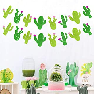 Yaaaaasss! Fiesta Banner Cacti Garlands Green Glitter Mexican Theme Party Decor Llama Party Supplies