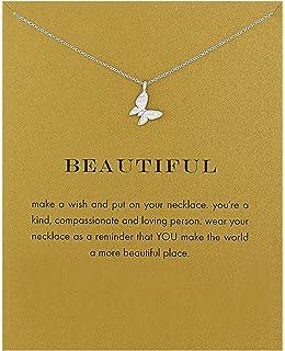 گردنبند قطب نما قطب نما دوستی Lang Xuan گردنبند آویز پروانه پروانه خوش شانس با کارت پیام کارت هدیه برای زنان دختر