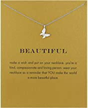 LANG XUAN Friendship Compass Necklace Good Luck Butterfly Pendant Chain Necklace with Message Card Gift Card for Women Girl