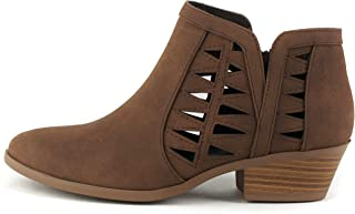 SODA CHANCE Womens Perforated Cut Out Stacked Block Heel Ankle Booties