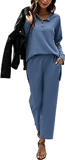 Quenteen Conjunto de dos piezas para mujer de punto gofre de ropa de salón con botones en V Henley camisas y pantalones co...