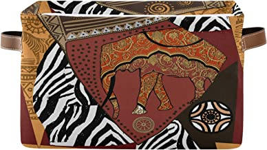 ALAZA Decorative Basket Rectangular Storage Bin, African Elephant Ethnic Organizer Basket with Leather Handles for Home Of...